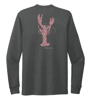 Alexandra Catherine, Fleur Pink Lobster, Unisex Crew Neck Long Sleeve T-shirt in Slate Black