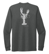Load image into Gallery viewer, Alexandra Catherine, Fleur White Lobster, Unisex Crew Neck Long Sleeve T-shirt in Slate Black