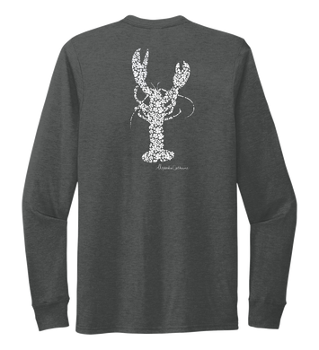 Alexandra Catherine, Fleur White Lobster, Unisex Crew Neck Long Sleeve T-shirt in Slate Black
