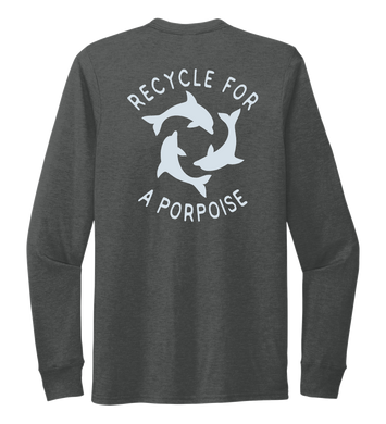 StepChange, Porpoise, Unisex Crew Neck Long Sleeve T-shirt in Slate Black
