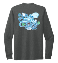 Load image into Gallery viewer, Lauren Gilliam, Octopus, Unisex Crew Neck Long Sleeve T-shirt in Slate Black