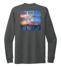 Load image into Gallery viewer, Lauren Gilliam, Dolphin, Unisex Crew Neck Long Sleeve T-shirt in Slate Black