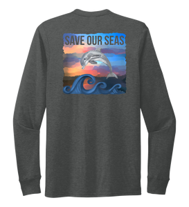 Lauren Gilliam, Dolphin, Unisex Crew Neck Long Sleeve T-shirt in Slate Black