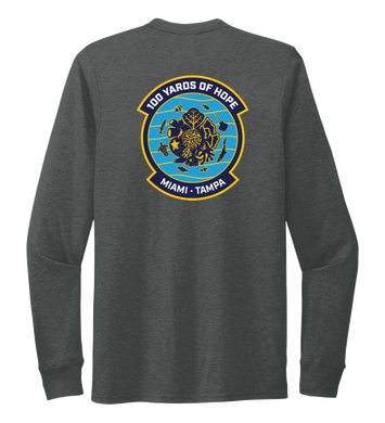 FORCE BLUE 100 YARDS OF HOPE Unisex Crew Neck Long Sleeve T-shirt in Slate Black