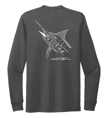 Colin Thompson, Marlin, Crew Neck Long Sleeve T-Shirt in Slate Black
