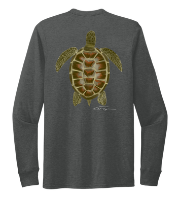 Colin Thompson, Turtle, Crew Neck Long Sleeve T-Shirt in Slate Black
