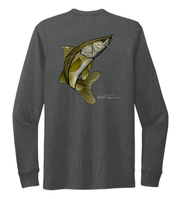 Colin Thompson, Snook, Crew Neck Long Sleeve T-Shirt in Slate Black