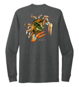 Ronnie Reasonover, The Crab, Crew Neck Long Sleeve T-Shirt in Slate Black