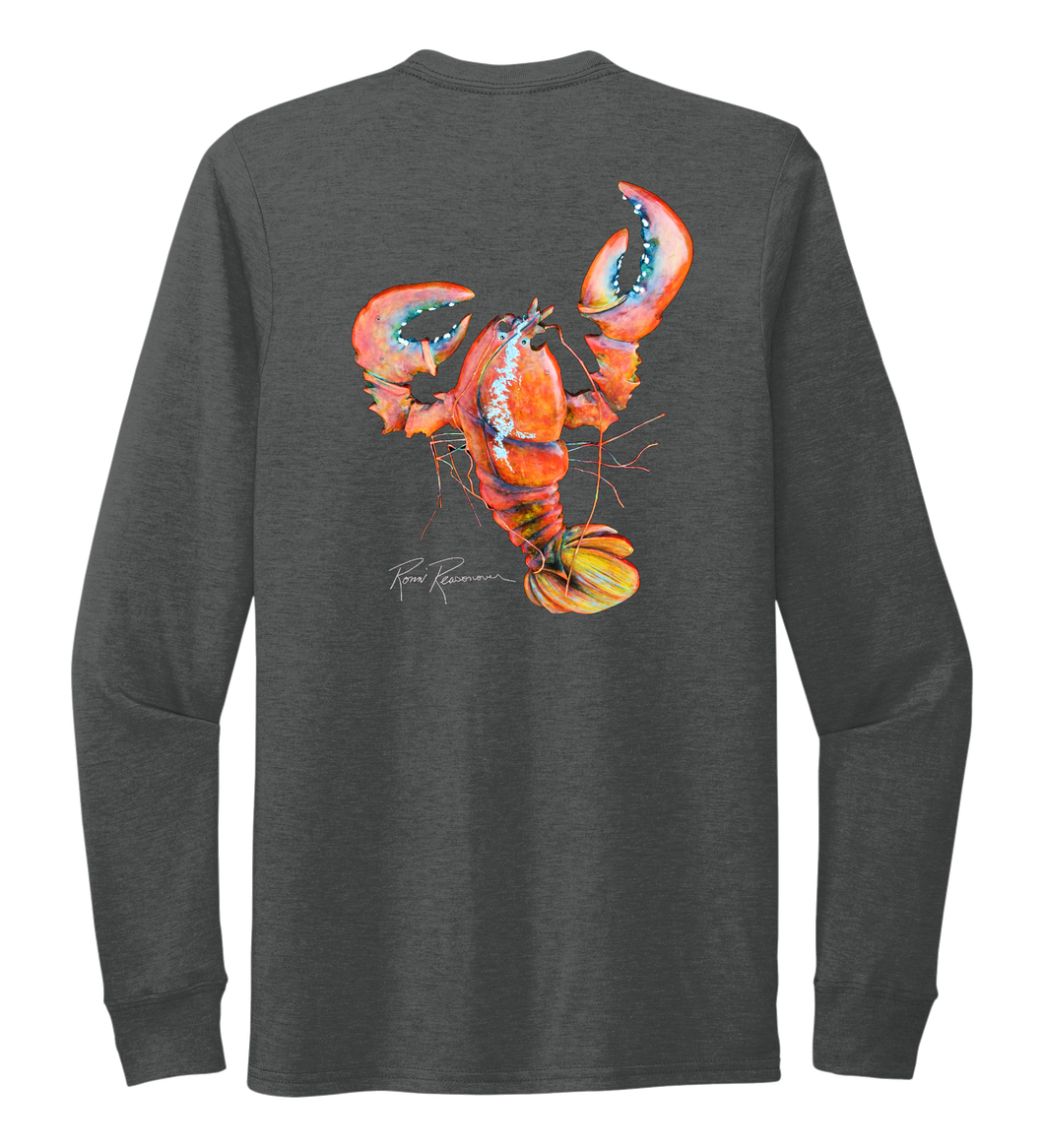 Ronnie Reasonover, The Lobster, Crew Neck Long Sleeve T-Shirt in Slate Black