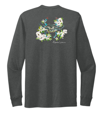 Alexandra Catherine, Blue Crab, Unisex Crew Neck Long Sleeve T-shirt in Slate Black