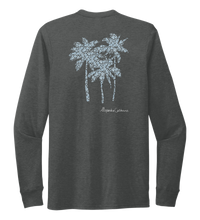 Load image into Gallery viewer, Alexandra Catherine, Palm Trees, Unisex Crew Neck Long Sleeve T-shirt in Slate Black