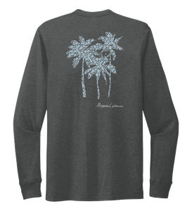 Alexandra Catherine, Palm Trees, Unisex Crew Neck Long Sleeve T-shirt in Slate Black