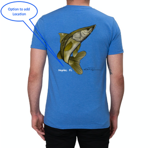 Artist Collection: Colin Thompson, Snook, Crew Neck T-Shirt in Sky Blue