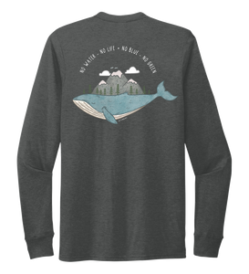 STYNGVI, No Water-No Life-No Blue-No Green, Unisex Crew Neck Long Sleeve T-shirt in Slate Black