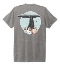 Load image into Gallery viewer, STYNGVI, Whale Fluke (colored), Unisex Crew Neck T-shirt in Oyster Grey