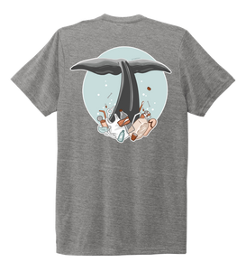 STYNGVI, Whale Fluke (colored), Unisex Crew Neck T-shirt in Oyster Grey