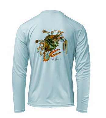 Ronnie Reasonover, The Crab, Performance Long Sleeve Shirt in Cloud Blue