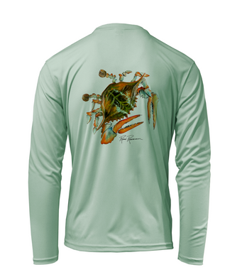 Ronnie Reasonover, The Crab, Performance Long Sleeve Shirt in Sea Foam Green