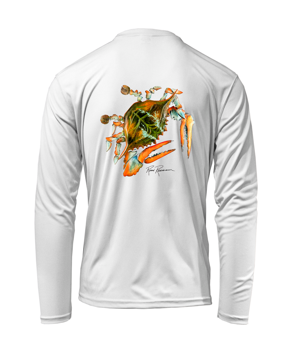 Ronnie Reasonover, The Crab, Performance Long Sleeve Shirt in Marine White