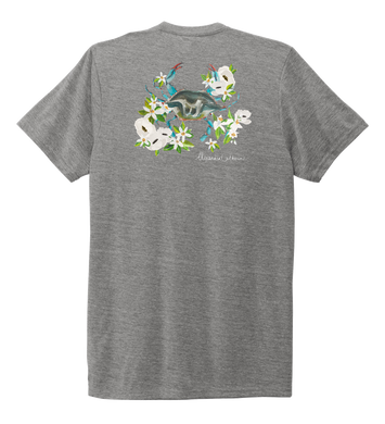 Alexandra Catherine, Blue Crab, Unisex Crew Neck T-shirt in Oyster Grey