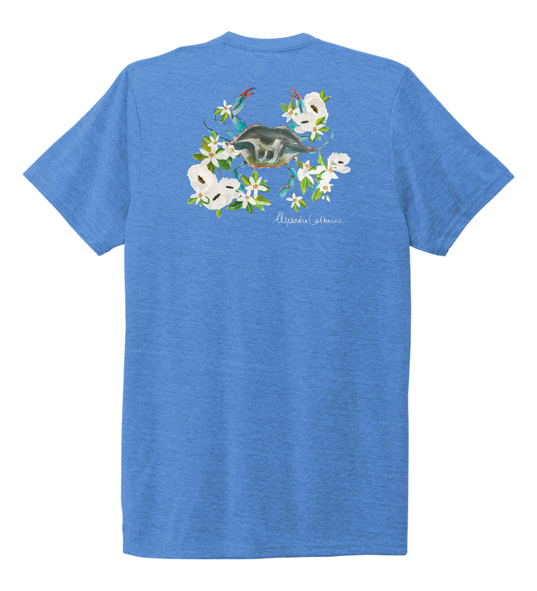 Alexandra Catherine, Blue Crab, Unisex Crew Neck T-shirt in Sky Blue