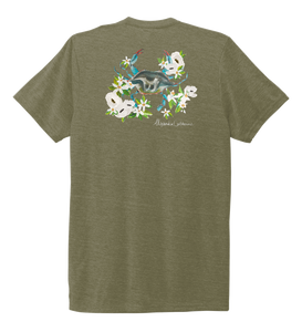 Alexandra Catherine, Blue Crab, Unisex Crew Neck T-shirt in Earthy Green