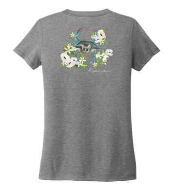 Alexandra Catherine, Blue Crab, Women's V-neck T-shirt in Oyster Grey