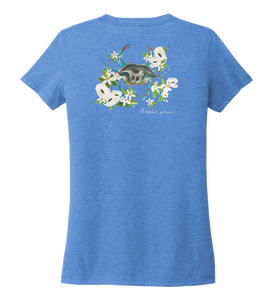 Alexandra Catherine, Blue Crab, Women's V-neck T-shirt in Sky Blue