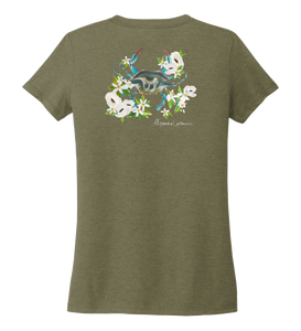 Alexandra Catherine, Blue Crab, Women's V-neck T-shirt in Earthy Green