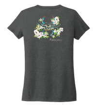 Load image into Gallery viewer, Alexandra Catherine, Blue Crab, Women's V-neck T-shirt in Slate Black