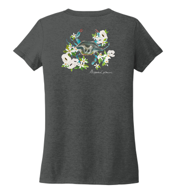 Alexandra Catherine, Blue Crab, Women's V-neck T-shirt in Slate Black