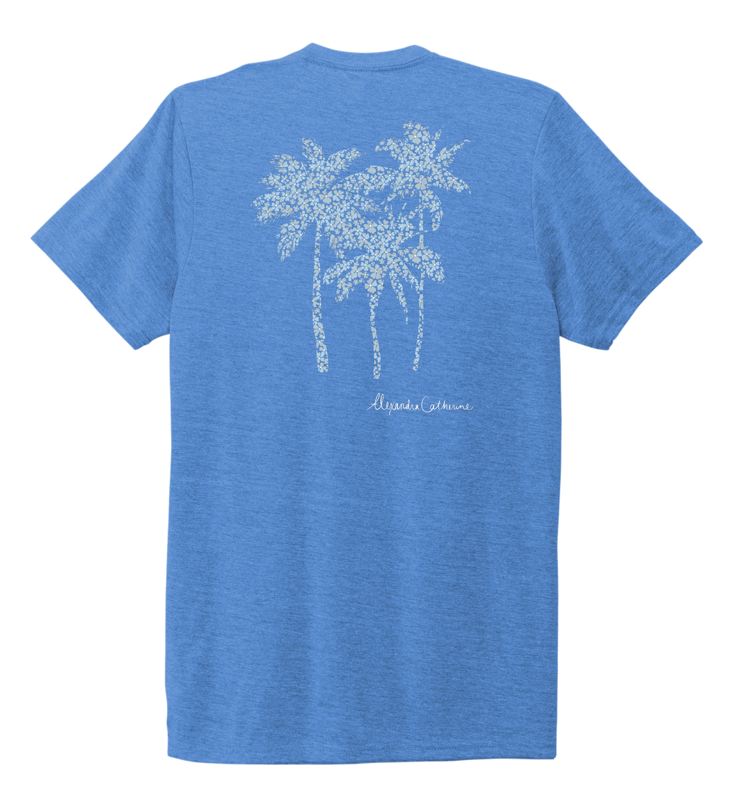 Alexandra Catherine, Palm Trees, Unisex Crew Neck T-shirt in Sky Blue