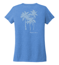Load image into Gallery viewer, Alexandra Catherine, Palm Trees, Women's V-neck T-shirt in Sky Blue