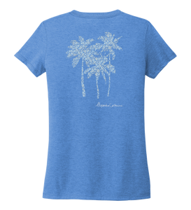 Alexandra Catherine, Palm Trees, Women's V-neck T-shirt in Sky Blue