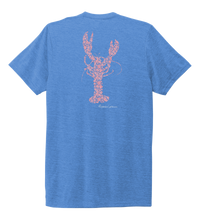 Load image into Gallery viewer, Alexandra Catherine, Fleur Pink Lobster, Unisex Crew Neck T-shirt in Sky Blue