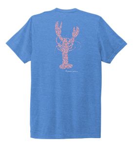 Alexandra Catherine, Fleur Pink Lobster, Unisex Crew Neck T-shirt in Sky Blue