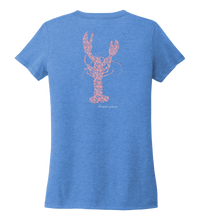 Load image into Gallery viewer, Alexandra Catherine, Fleur Pink Lobster, Women's V-neck T-shirt in Sky Blue