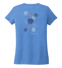 Load image into Gallery viewer, Alexandra Catherine, Tossed Seashells, Women's V-neck T-shirt in Sky Blue