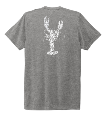Alexandra Catherine, Fleur White Lobster, Unisex Crew Neck T-shirt in Oyster Grey