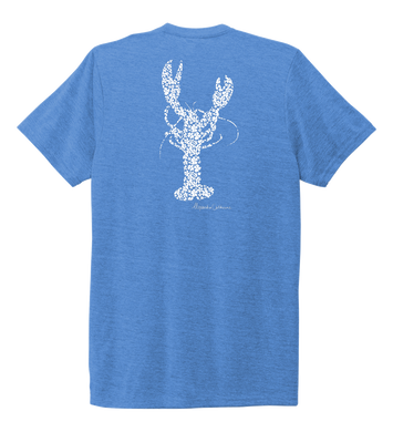 Alexandra Catherine, Fleur White Lobster, Unisex Crew Neck T-shirt in Sky Blue