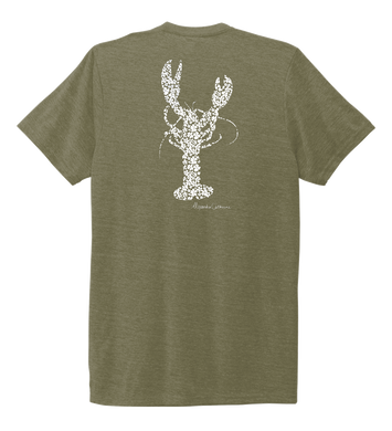 Alexandra Catherine, Fleur White Lobster, Unisex Crew Neck T-shirt in Earthy Green