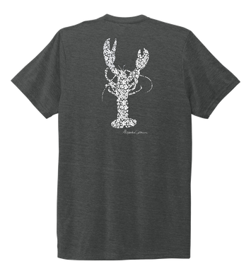 Alexandra Catherine, Fleur White Lobster, Unisex Crew Neck T-shirt in Slate Black