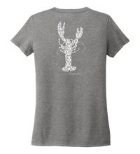 Load image into Gallery viewer, Alexandra Catherine, Fleur White Lobster, Women's V-neck T-shirt in Oyster Grey