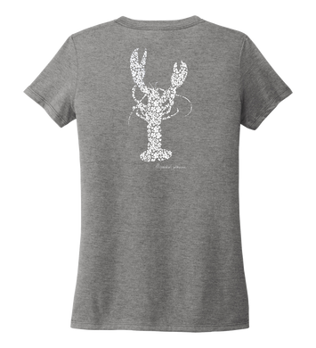 Alexandra Catherine, Fleur White Lobster, Women's V-neck T-shirt in Oyster Grey