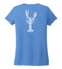 Load image into Gallery viewer, Alexandra Catherine, Fleur White Lobster, Women's V-neck T-shirt in Sky Blue