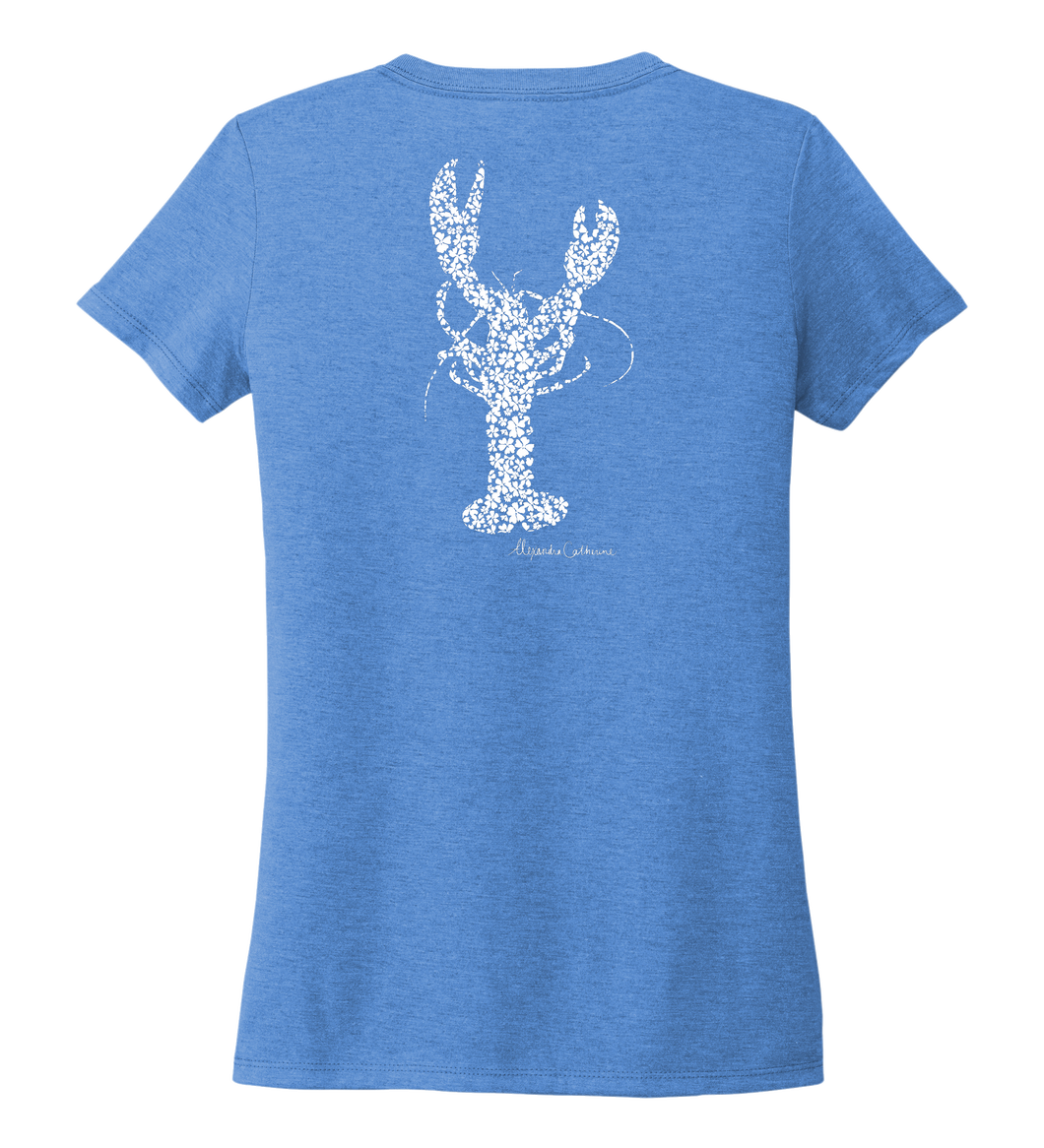 Alexandra Catherine, Fleur White Lobster, Women's V-neck T-shirt in Sky Blue