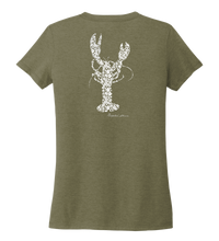 Load image into Gallery viewer, Alexandra Catherine, Fleur White Lobster, Women's V-neck T-shirt in Earthy Green