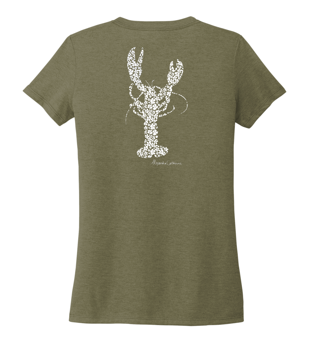 Alexandra Catherine, Fleur White Lobster, Women's V-neck T-shirt in Earthy Green