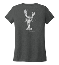 Load image into Gallery viewer, Alexandra Catherine, Fleur White Lobster, Women's V-neck T-shirt in Slate Black