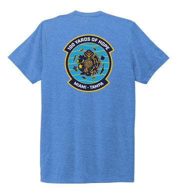 FORCE BLUE 100 YARDS OF HOPE Unisex Crew Neck T-shirt in Sky Blue